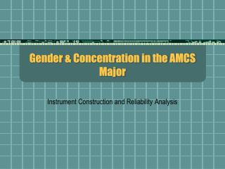 Gender & Concentration in the AMCS Major