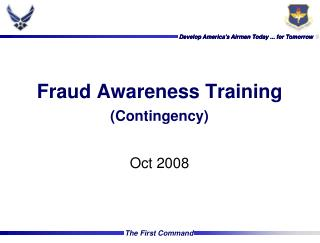 Fraud Awareness Training (Contingency)