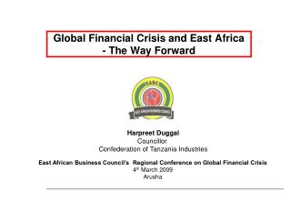 Global Financial Crisis and East Africa  - The Way Forward