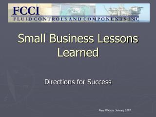 Small Business Lessons Learned
