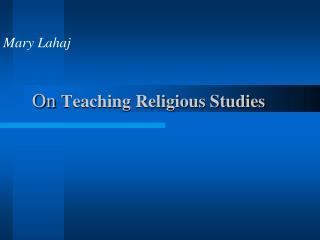 On  Teaching Religious Studies
