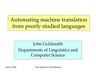 Automating machine translation from poorly studied languages