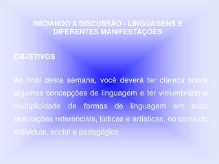 INICIANDO A DISCUSSÃO - LINGUAGENS E DIFERENTES MANIFESTAÇÕES