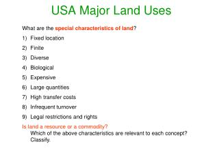 USA Major Land Uses