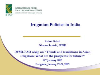 Irrigation Policies in India