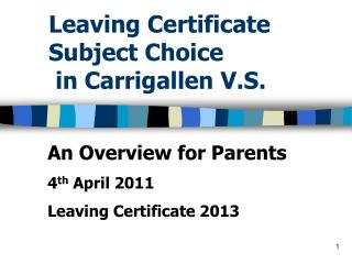 Leaving Certificate Subject Choice  in Carrigallen V.S.