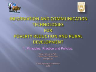 Information and Communication Technologies  for  Poverty Reduction and Rural Development