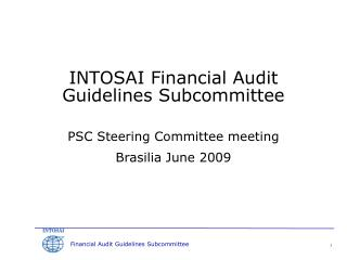 INTOSAI Financial Audit Guidelines Subcommittee