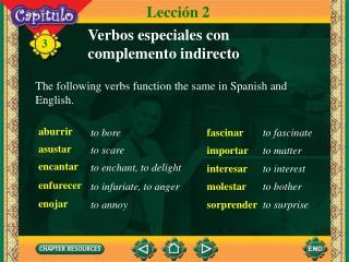 Verbos especiales con complemento indirecto