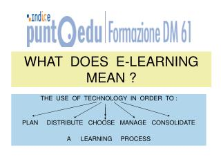 WHAT  DOES  E-LEARNING MEAN ?