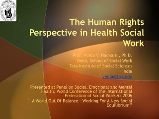 The Human Rights Perspective in Health Social Work