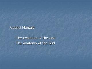 Gabriel Mardale 	- The Evolution of the Grid 	- The Anatomy of the Grid