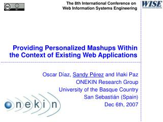 Providing Personalized Mashups Within the Context of Existing Web Applications