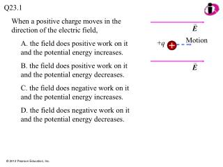 When a positive charge moves in the direction of the electric field,