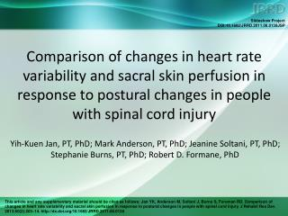 Comparison of changes in heart rate variability and sacral skin perfusion in response to postural changes in people wit