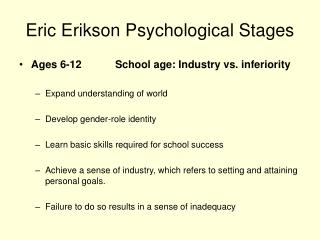 Eric Erikson Psychological Stages