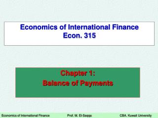Economics of International Finance Econ. 315