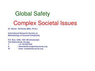 Complex Societal Issues