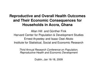 Reproductive and Overall Health Outcomes and Their Economic ...