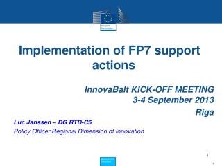 Implementation of FP7 support actions
