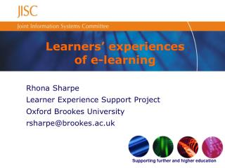 Learners' experiences of e-learning