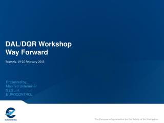 DAL/DQR Workshop Way Forward Brussels, 19-20 February 2013