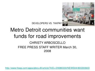 Metro Detroit communities want funds for road improvements
