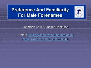 Preference And Familiarity For Male Forenames