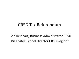 CRSD Tax Referendum