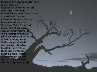We Grow Accustomed to the Dark By Emily Dickinson We grow accustomed to the Dark, When Light is put away, As when the N
