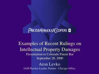 Examples of Recent Rulings on Intellectual Property Damages Presentation to Colorado Patent Bar  September 20, 2000