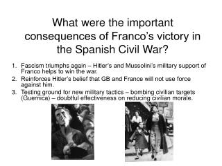 What were the important consequences of Franco's victory in the Spanish Civil War?
