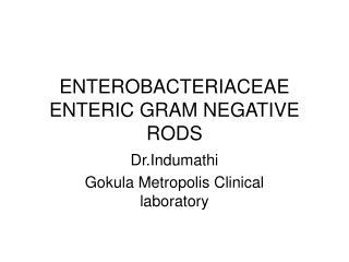 ENTEROBACTERIACEAE ENTERIC GRAM NEGATIVE RODS