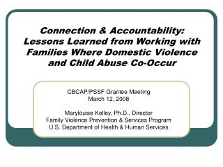 Connection & Accountability:  Lessons Learned from Working with Families Where Domestic Violence and Child Abuse Co-Occ