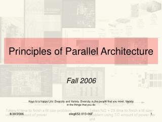Principles of Parallel Architecture