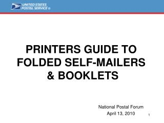 PRINTERS GUIDE TO  FOLDED SELF-MAILERS  & BOOKLETS