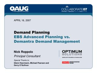 Demand Planning EBS Advanced Planning vs.  Demantra Demand Management