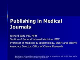 Publishing in Medical Journals