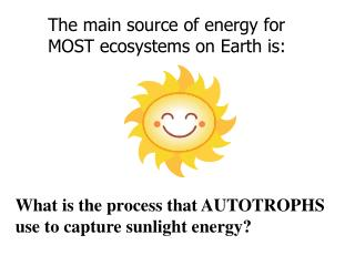 The main source of energy for  MOST ecosystems on Earth is: