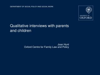 Qualitative interviews with parents and children