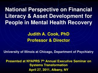 National Perspective on Financial Literacy & Asset Development for People in Mental Health Recovery