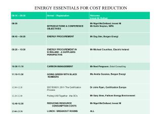 ENERGY ESSENTIALS FOR COST REDUCTION