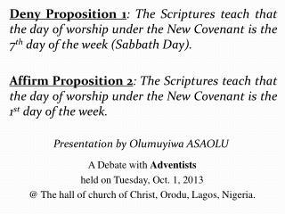 Presentation by Olumuyiwa ASAOLU