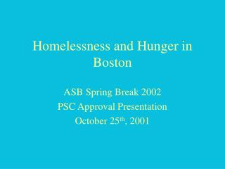 Homelessness and Hunger in Boston