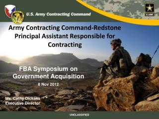 Army Contracting Command-Redstone  Principal  Assistant Responsible for Contracting