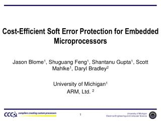 Cost-Efficient Soft Error Protection for Embedded Microprocessors