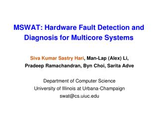 MSWAT: Hardware Fault Detection and Diagnosis for Multicore Systems