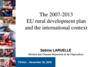 The 2007-2013  EU rural development plan  and the international context