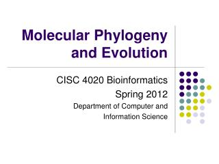 Molecular Phylogeny and Evolution