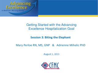 Session 3: Biting the Elephant Mary Perloe RN, MS, GNP   &   Adrienne Mihelic PhD